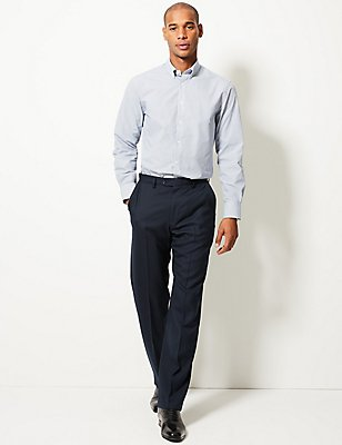 Regular Fit Wool Blend Flat Front Trousers, NAVY, catlanding