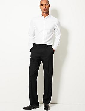 Regular Fit Wool Blend Flat Front Trousers, BLACK, catlanding
