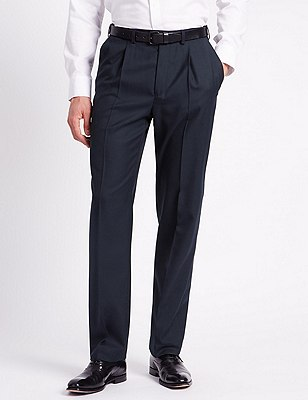 Single Pleat Trousers with Wool, NAVY, catlanding