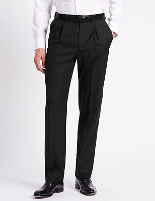 Single Pleat Trousers with Wool, BLACK, catlanding