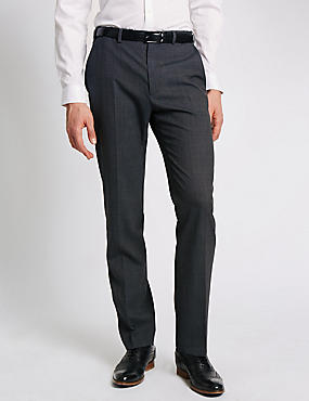 Wool Blend Flat Front Trousers