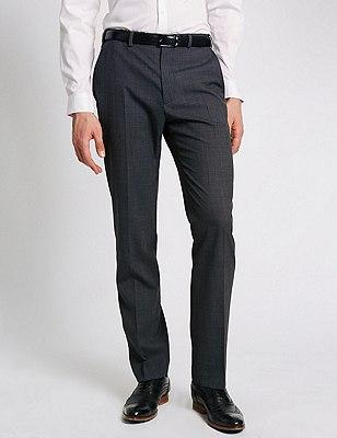Wool Blend Flat Front Trousers, CHARCOAL MIX, catlanding