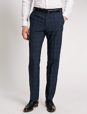 Checked Flat Front Trousers with Wool, NAVY MIX, catlanding