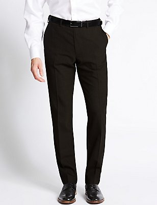 Tailored Fit Wool Blend Flat Front Trousers, CHOCOLATE MIX, catlanding