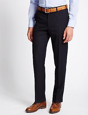 Grandes tailles– Pantalon ajusté en laine mélangée, BLEU MARINE, catlanding