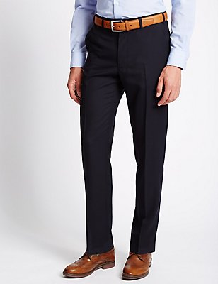 Flat Front Wool Blend Twill Trousers, NAVY, catlanding