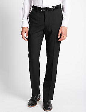 Flat Front Wool Blend Twill Trousers, BLACK, catlanding