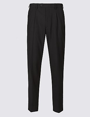 Tailored Wool Blend Single Pleated Trousers, BLACK, catlanding