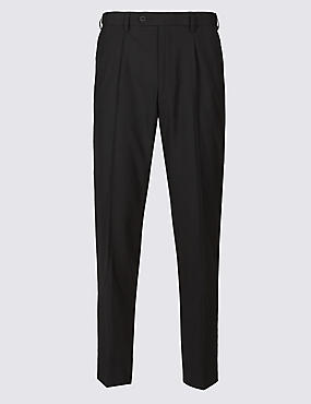 Single Pleat Twill Trousers with Wool, BLACK, catlanding