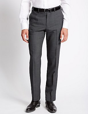 Tailored Wool Blend Flat Front Trousers, GREY, catlanding