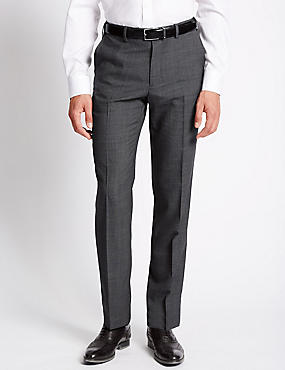 Tailored Fit Wool Blend Flat Front Trousers, GREY, catlanding