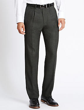 Wool Blend Single Pleat Trousers, CHARCOAL MIX, catlanding