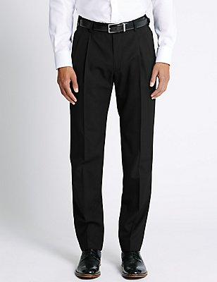 Tailored Wool Blend Twin Pleated Trousers, BLACK, catlanding