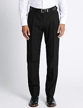 Pantalon à deux plis avec laine, NOIR, catlanding