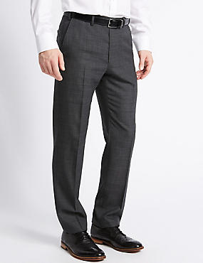 Tailored Fit Wool Blend Flat Front Trousers, CHARCOAL, catlanding