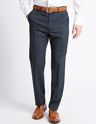 Tailored Fit Wool Blend Flat Front Trousers, NAVY MIX, catlanding