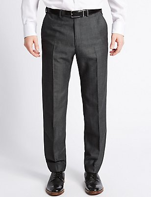 Tailored Linen Blend Flat Front Trousers, DARK GREY MIX, catlanding