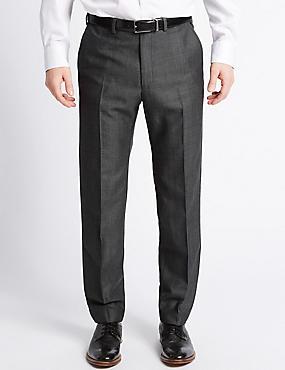 Pantalon sans pinces coupe ajustée en lin mélangé, GRIS FONCÉ ASSORTI, catlanding