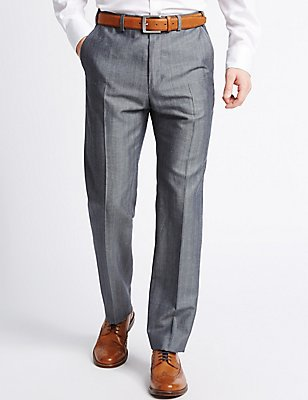 Tailored Linen Blend Flat Front Trousers, NAVY MIX, catlanding