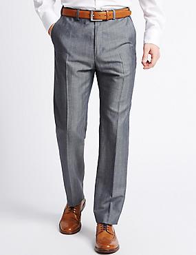 Pantalon sans pinces coupe ajustée en laine mélangée, BLEU MARINE ASSORTI, catlanding