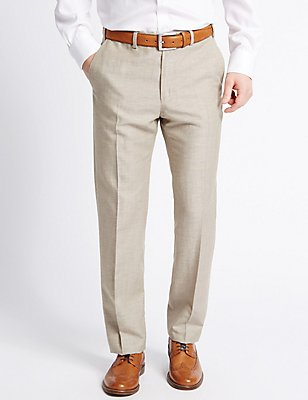 Tailored Fit Wool Blend Textured Trousers, NATURAL MIX, catlanding