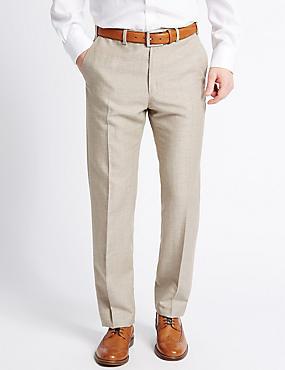 Pantalon sans pinces coupe ajustée en lin mélangé, NATUREL ASSORTI, catlanding