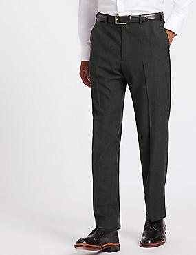 Big & Tall Wool Blend Single Pleated Trousers, CHARCOAL MIX, catlanding