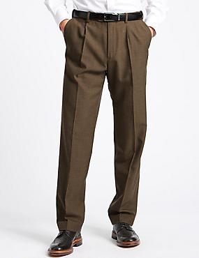 Tailored Wool Blend Single Pleated Trousers, NEUTRAL, catlanding