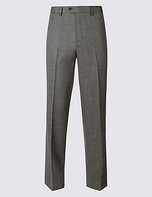 Regular Wool Blend Single Pleated Trousers, GREY MIX, catlanding