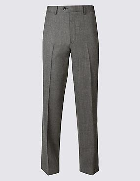Regular Wool Blend Single Pleated Trousers, GREY MIX, catlanding