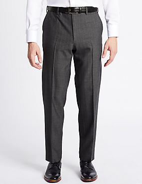 Big & Tall Wool Rich Single Pleated Trousers, NAVY/GREY, catlanding