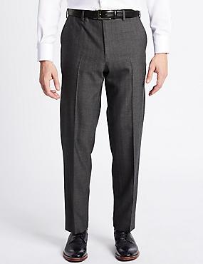 Regular Wool Rich Single Pleated Trousers, NAVY/GREY, catlanding