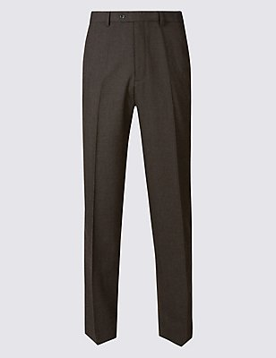 Regular Wool Rich Single Pleated Trousers, CHOCOLATE, catlanding