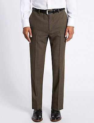 Regular Wool Blend Single Pleated Trousers, NEUTRAL, catlanding