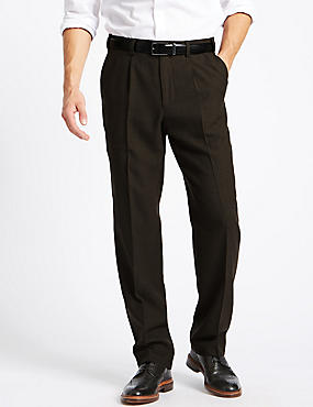 Tailored Wool Blend Single Pleated Trousers, BROWN MIX, catlanding