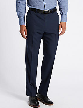 Regular Wool Blend Flat Front Trousers, INDIGO MIX, catlanding
