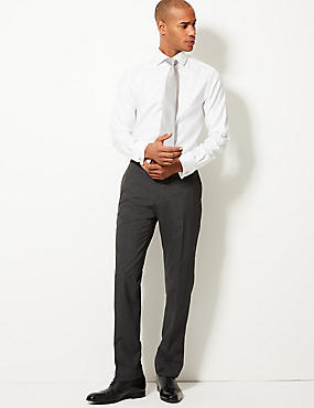 Tailored Fit Textured Flat Front Trousers, GREY, catlanding