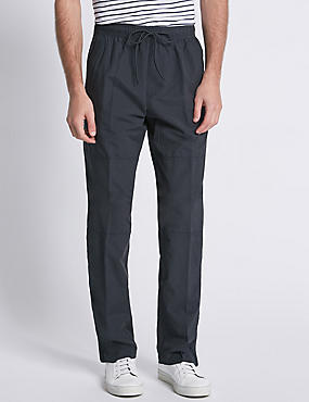 Cotton Rich Pull On Trousers, NAVY, catlanding