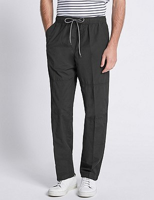 Cotton Rich Pull On Trousers, BLACK, catlanding