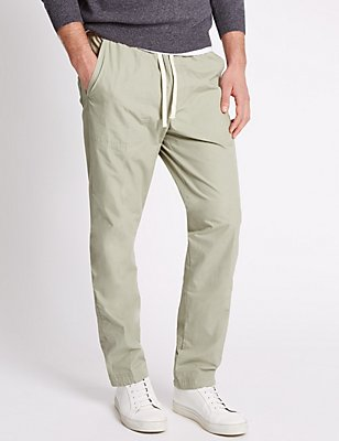 Regular Fit Pure Cotton Trousers, LIGHT STONE, catlanding