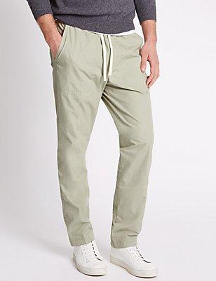 Hose in normaler Passform aus reiner Baumwolle, STEIN HELL, catlanding