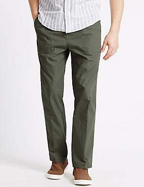 Regular Fit Pure Cotton Trousers, WASHED GREEN, catlanding