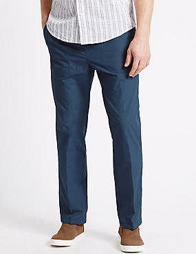 Regular Fit Pure Cotton Trousers, DENIM, catlanding