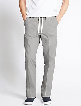 Regular Fit Pure Cotton Trousers, GREY, catlanding