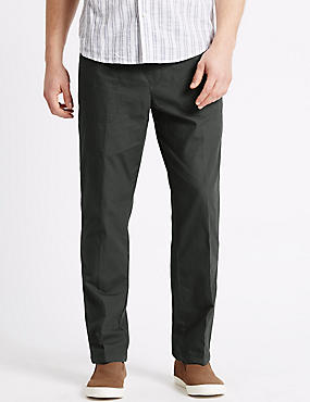 Regular Fit Pure Cotton Trousers, DARK CHARCOAL, catlanding