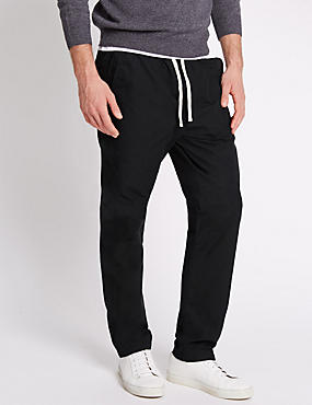 Regular Fit Pure Cotton Trousers, BLACK, catlanding