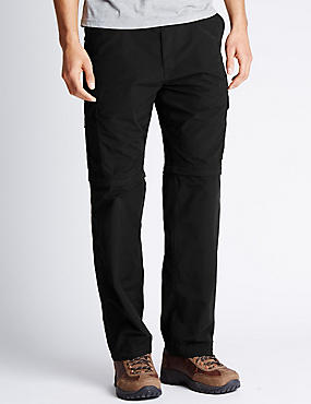 Regular Fit Trekking Trousers with Belt , BLACK, catlanding