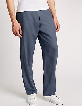 Regular Fit Linen Blend Chinos, GREY, catlanding