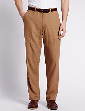 Regular Fit Linen Blend Chinos, TOBACCO, catlanding