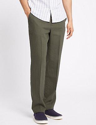 Linnenrijke pantalon met normale pasvorm, GRIJS, catlanding